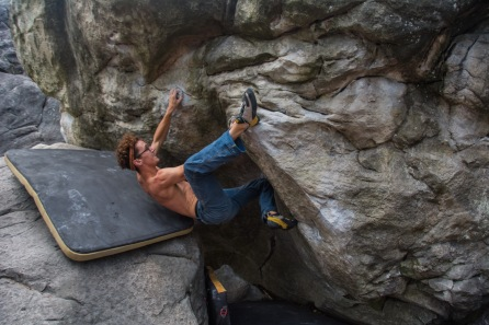 Sam has been obsessed with climbing since 2011 but has been around it for much longer as he has lived on Portland most of his life. Sam climbs in Tenaya Tarifas and loves a good heel hook.