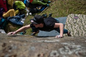 Sam working out a slab at Froggatt.