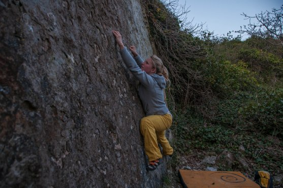 Connie on a day out at the 'Highball Wall'.
