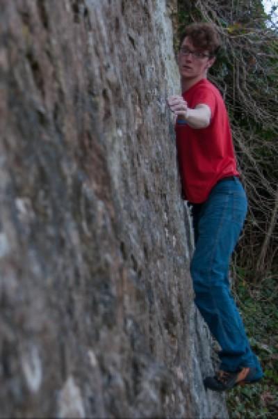 Sam on Highball Wall Traverse.