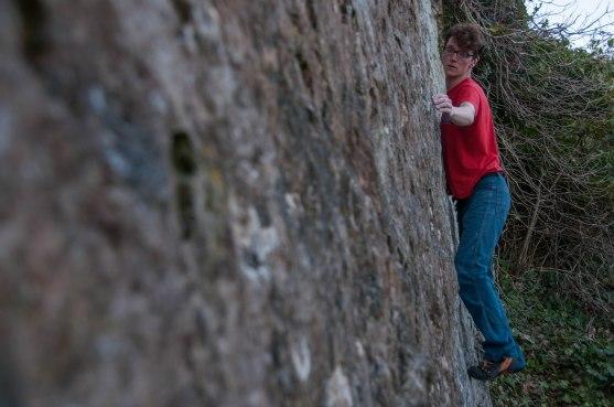 Sam on the long slab traverse.