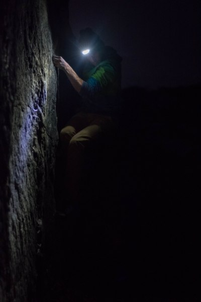 Tom making the most of the head torch.