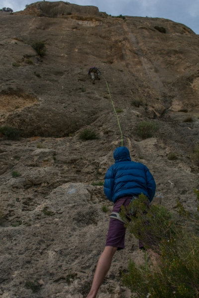 Tom belaying Pymn on Gemma Boom.