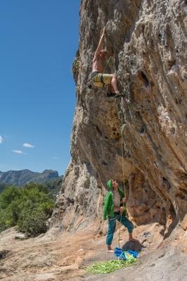 Alex warming up on the steep stuff.