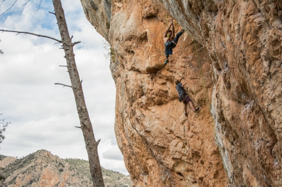 Tom climbing along side an unknown climber at Forada.