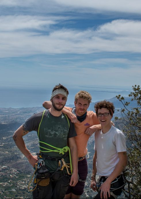 Chilling at the top of Puig Campana. Right to left Pymn, Tom, Sam