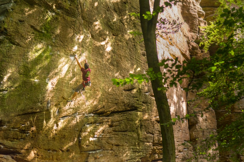 Lucas Nyssens resting after catching the full body dyno on 'Cima Ovest' 7c+.