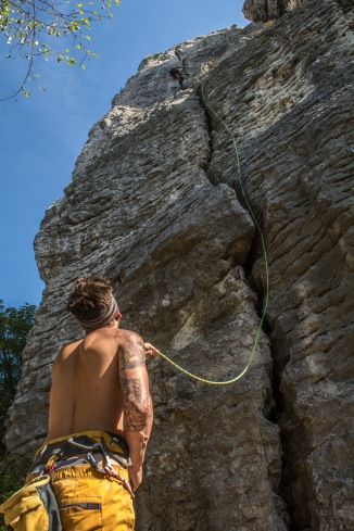 Alex leading the super long crack at St Trinity Rocks.
