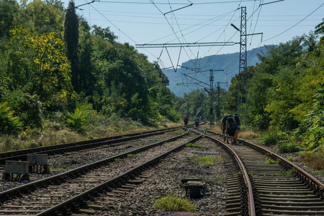 Train tracks to St Trinity Rocks.